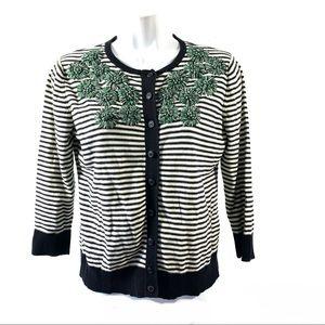 Tabitha Cardigan Sweater Sz M Yarn Flowers